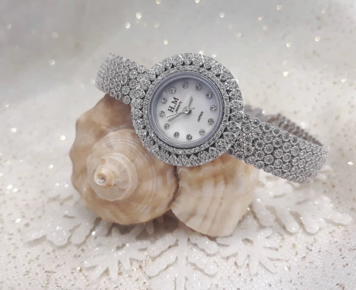 Diamond silver watch